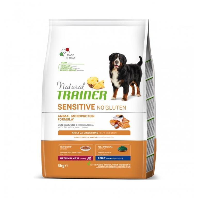 NATURAL TRAINER Sens No Gluten Adult Medium Maxi Salmone 3kg