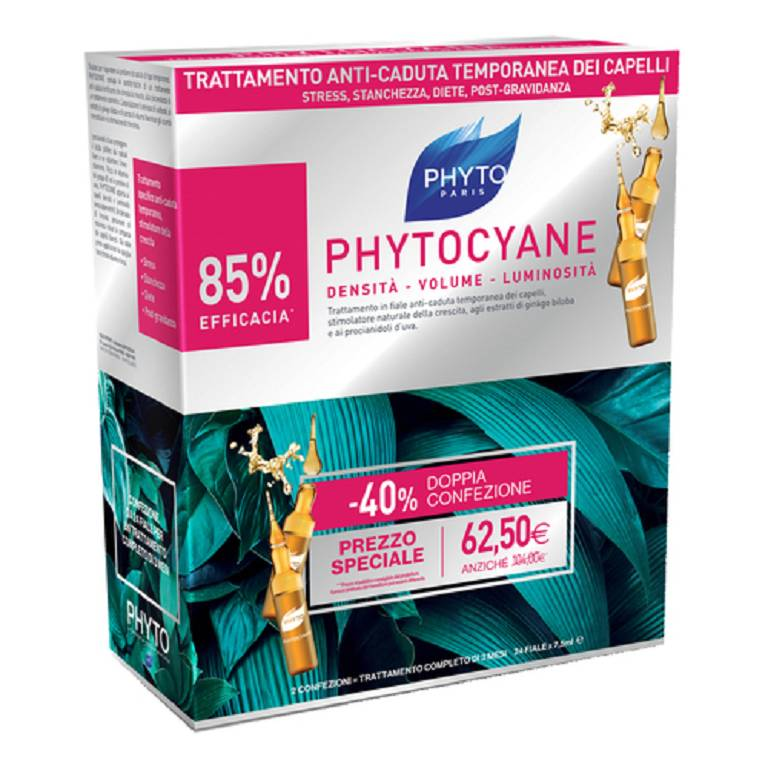 PHYTO Phytocyane Trattamento Anticaduta Donna DUO 12+12 Fiale 2019